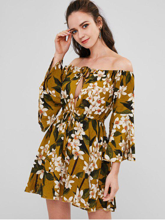 outfits Floral Bell Sleeve Woven Off The Shoulder Dress - MULTI S