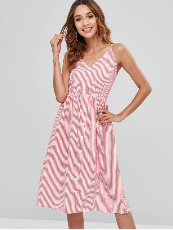 shops Striped Button Bowknot Cami Dress - RED M