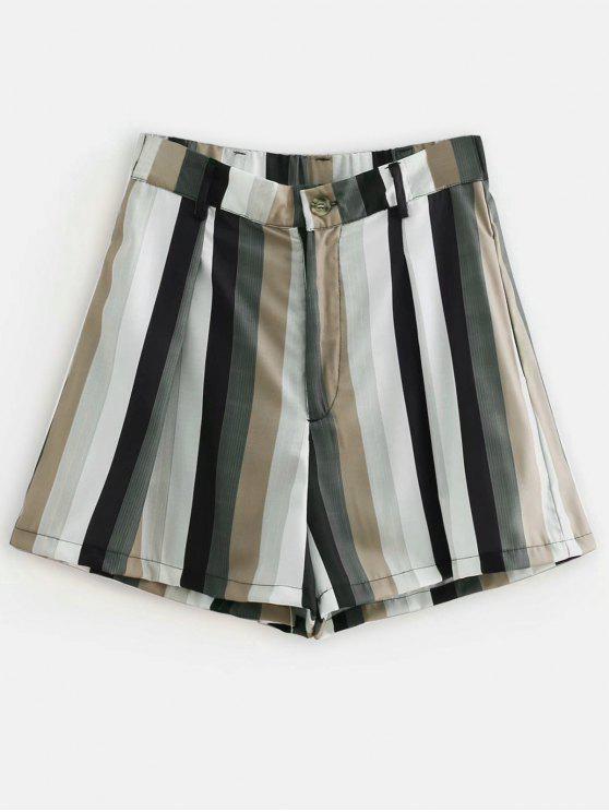 fancy Zip Fly Striped Casual Shorts - MULTI M