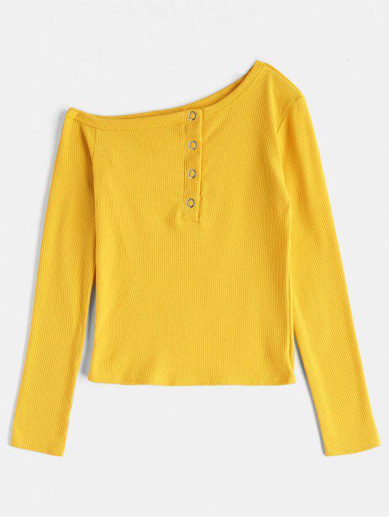 Langärmliges asymmetrisches geripptes T-Shirt - Gelb S
