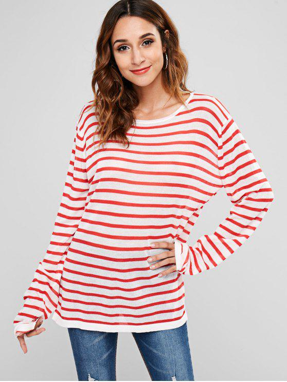 sale Oversize Stripes Knitwear - RED ONE SIZE