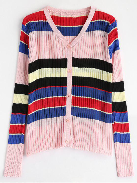 womens Striped Knitted Cardigan - MULTI ONE SIZE