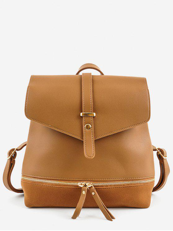 latest Zip Pocket PU Leather Panel Backpack - BROWN