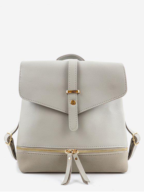 trendy Zip Pocket PU Leather Panel Backpack - GRAY
