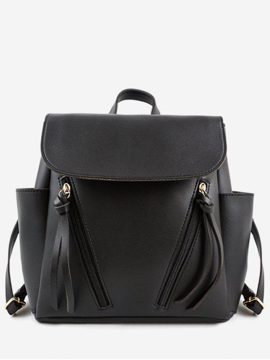 fashion Zip Side Pockets School Backpack - BLACK