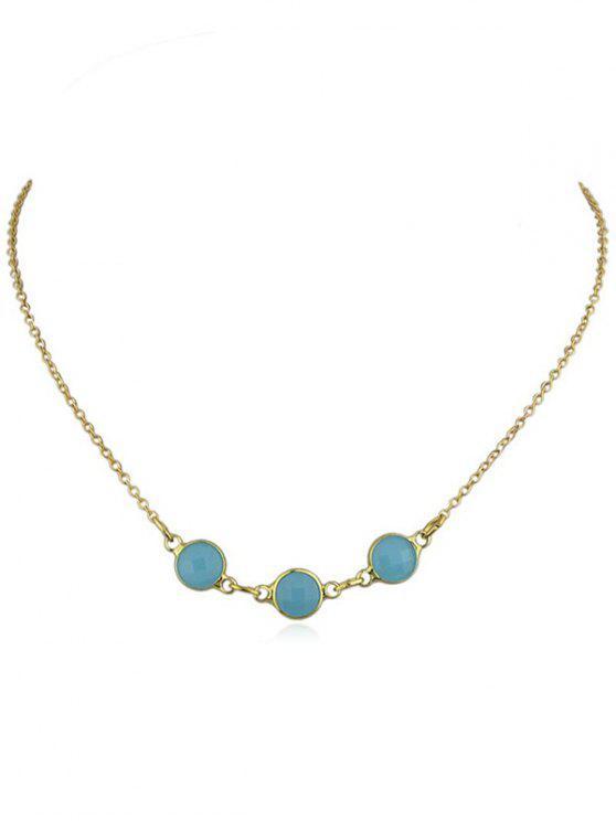 Runde Faux Edelstein Anhänger Halskette - Blau