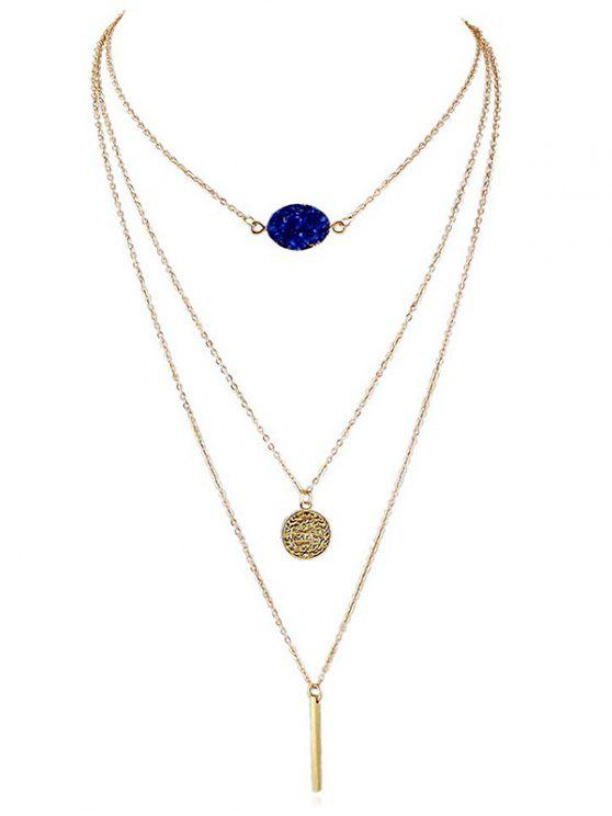 best Artificial Gem Layered Chain Necklace - BLUE