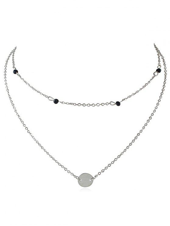 new Layered Disc Pendant Choker Necklace - SILVER