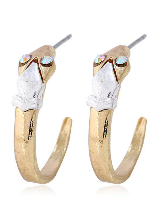 Alloy Cuff Snake Design Stud Pendientes - Oro