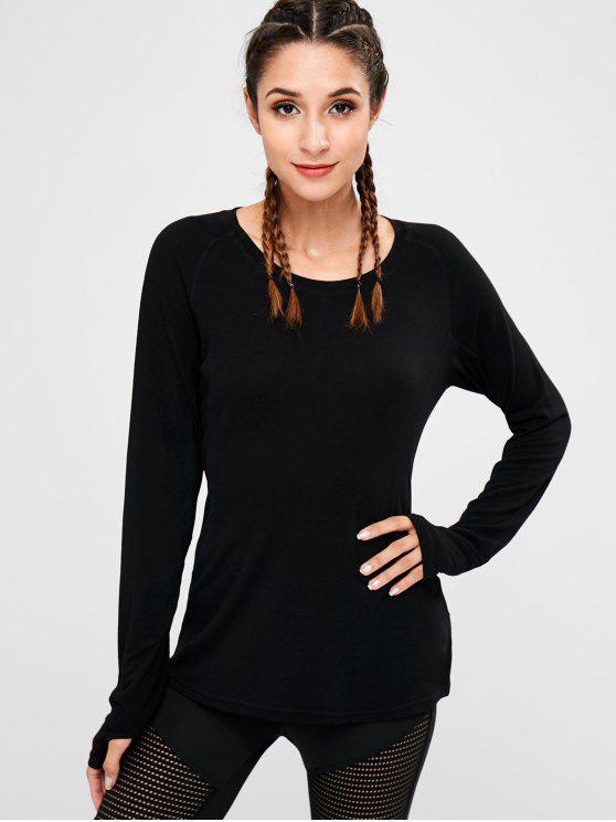 lady Armhole Mesh Panel T-shirt - BLACK M