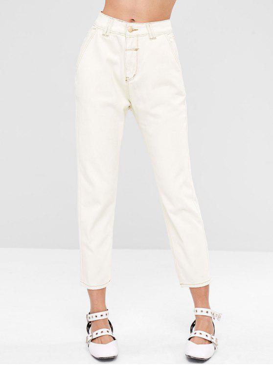 Jeans de bolso de namorado casual - Branco M