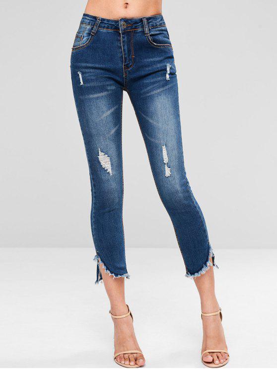 fancy Frayed Hem Distressed Skinny Jeans - JEANS BLUE M