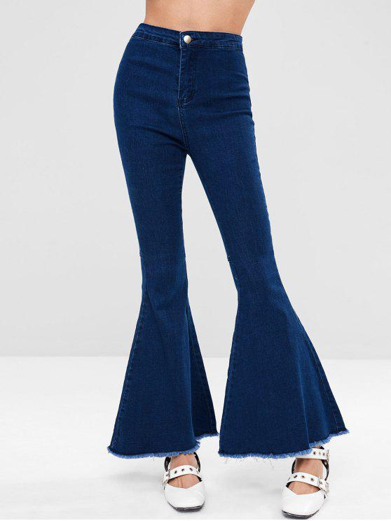 9fa02686c 43% OFF] 2019 Dark Wash Frayed Hem Flare Jeans In DENIM DARK BLUE ...