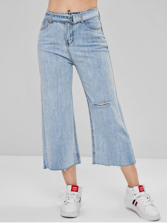 womens Wide Leg Raw Hem Ripped Jeans - JEANS BLUE L