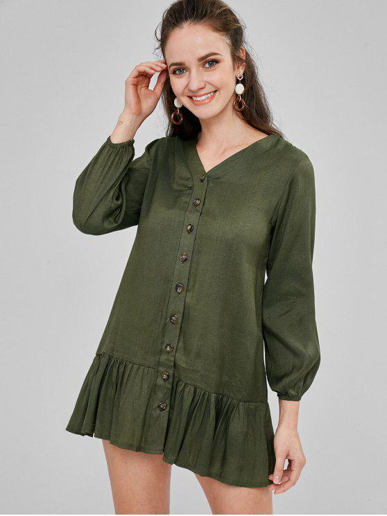 زر حتى انخفاض الخصر اللباس المستقيم - السرخس الأخضر M