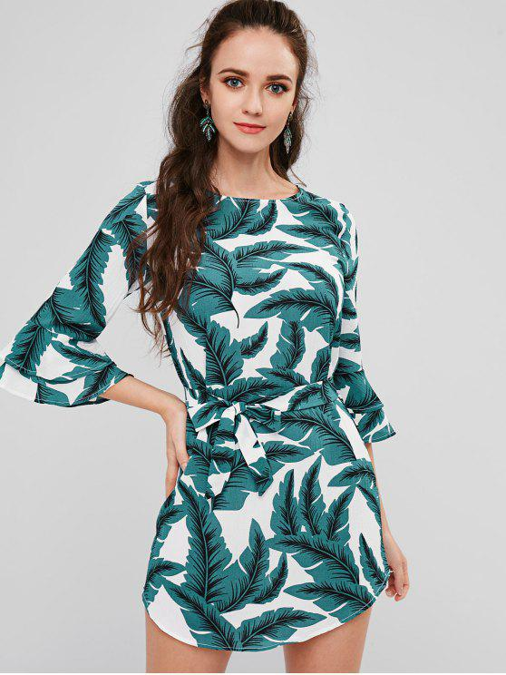 shops Bell Sleeve Palm Belted Dress - WHITE S