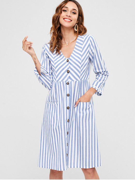 unique Striped Button Up Pocket Dress - BLUE M