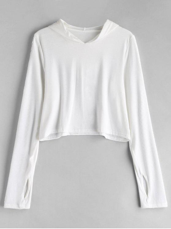 womens Mesh Panel Thumbhole Pullover Cropped Hoodie - WHITE M