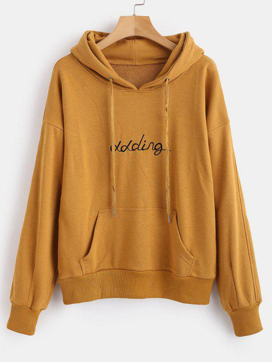 women's Front Pocket Letter Embroidered Hoodie - CARAMEL XL