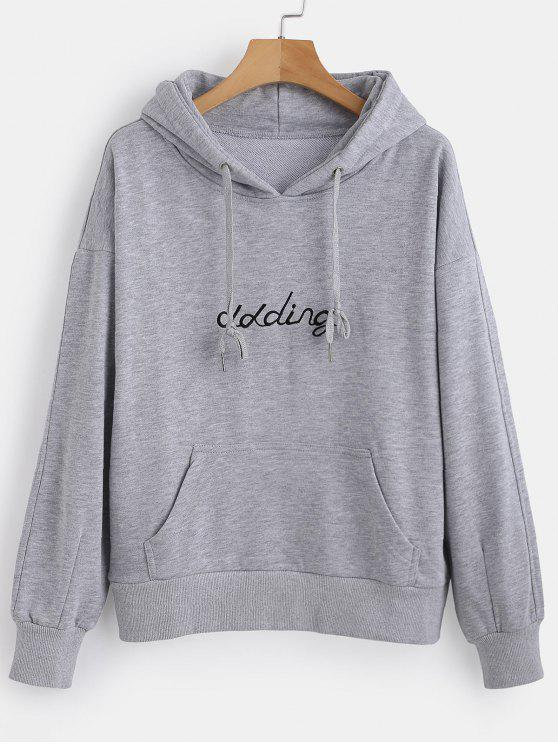 online Front Pocket Letter Embroidered Hoodie - LIGHT GRAY L