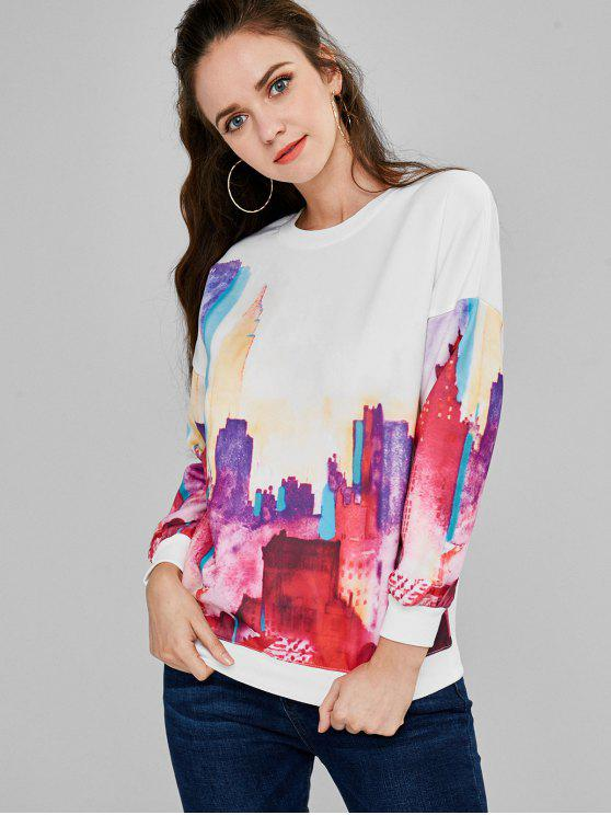 As construções imprimem a camisola do pescoço de grupo - Branco Um Tamanho