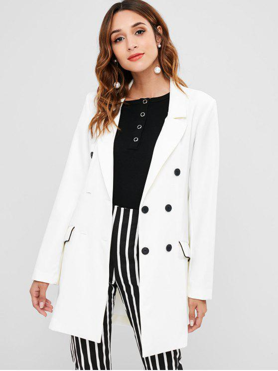 shops Pocket Double Breasted Tunic Blazer - WHITE M