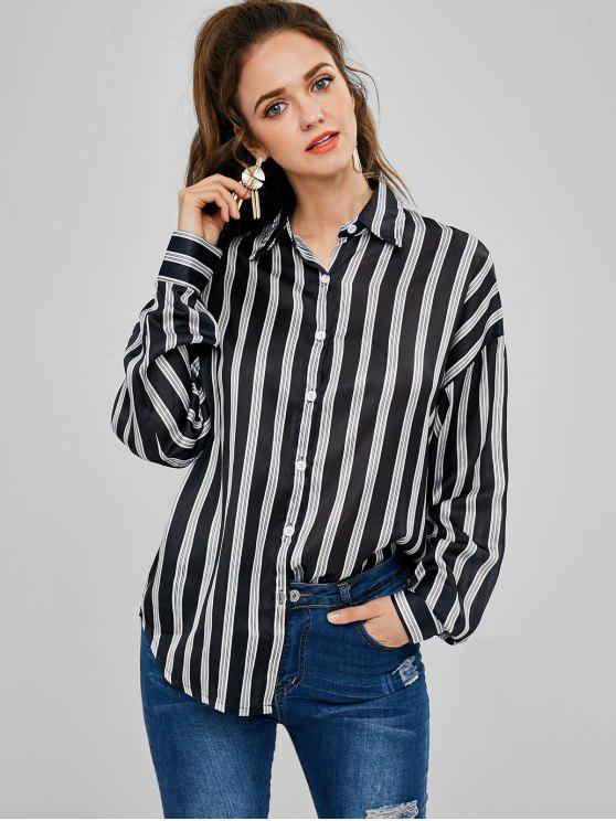 womens Striped Oversized Shirt - BLACK ONE SIZE