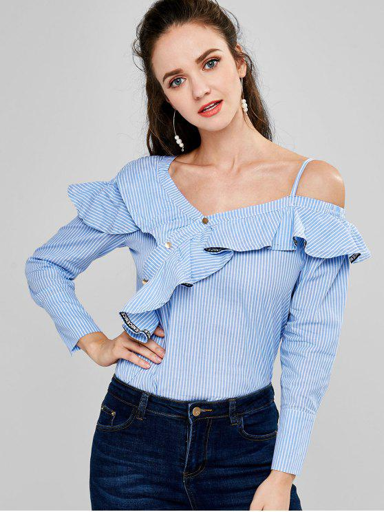 b0b978cb5d810d 22% OFF  2019 Striped Ruffle One Shoulder Blouse In SKY BLUE