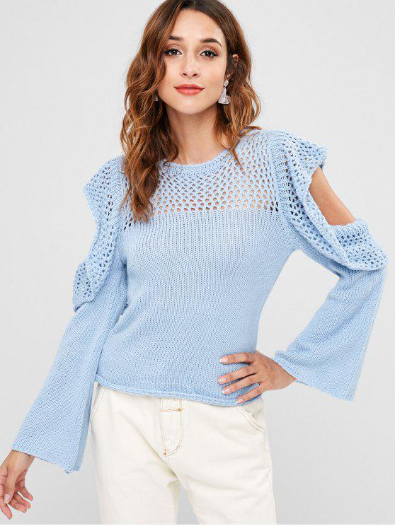unique Crochet Panel Cold Shoulder Sweater - DAY SKY BLUE ONE SIZE