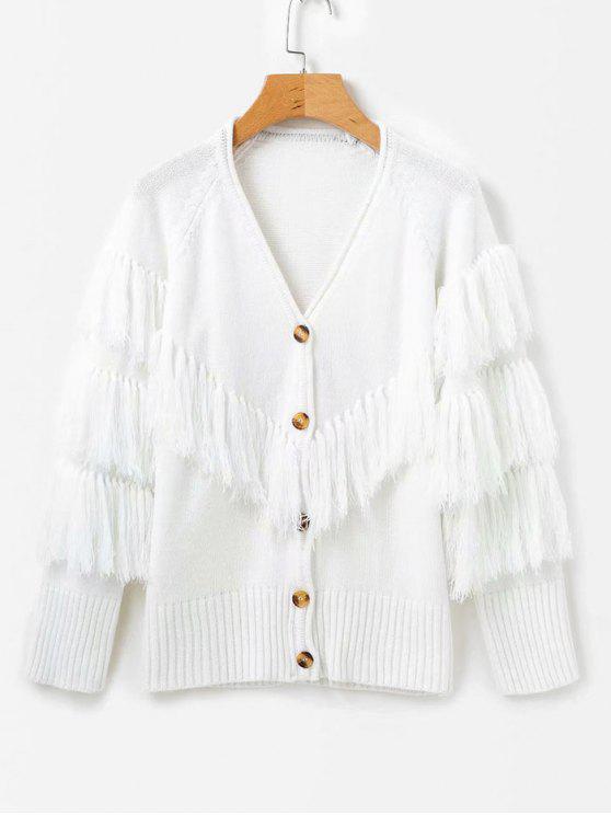 Fransen Pullover Strickjacke - Weiß Eine Größe
