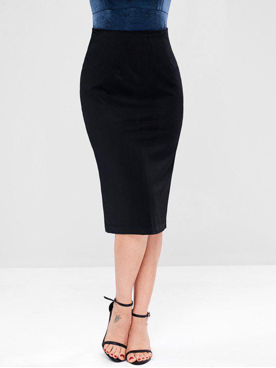 Falda con cremallera y abertura en la espalda - Negro XL