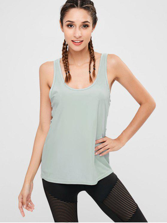 online Lattice Side Sports Tank Top - SAGE GREEN M