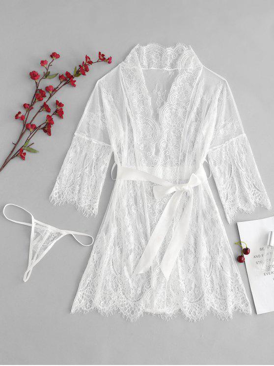 Scalloped Sheer Lace Robe Tanga panty conjunto de lencería - Blanco M