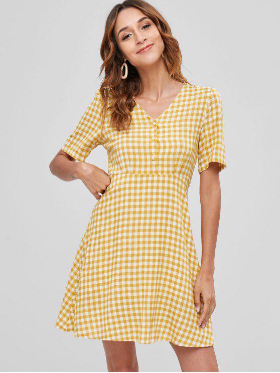 Medio botón anudado vestido de cuadros - Vara de Oro M