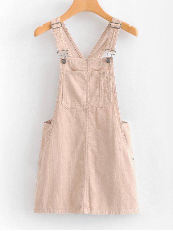 womens Mini Pinafore Dress - LIGHT PINK L