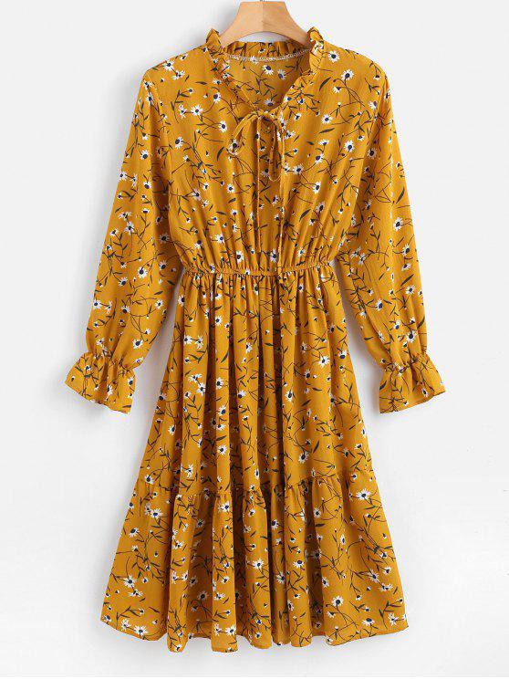 Floral gekräuselten Langarm-Kleid - Goldgelb XL