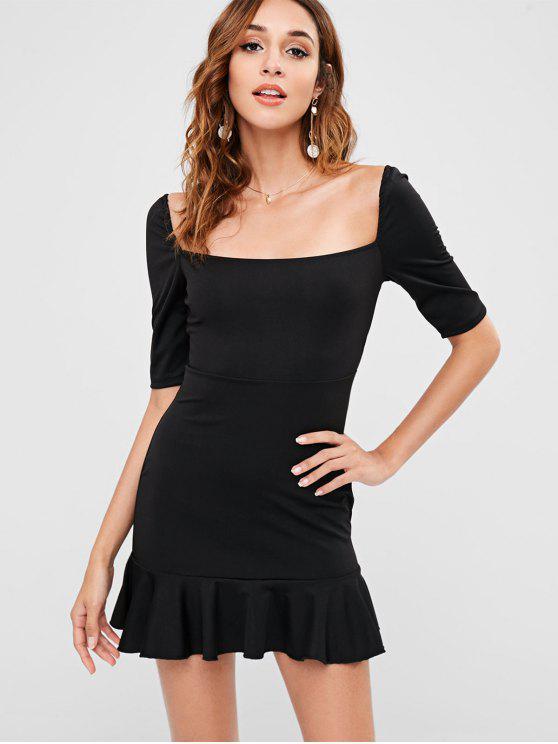 fashion Short Ruffled Square Neck Dress - BLACK L