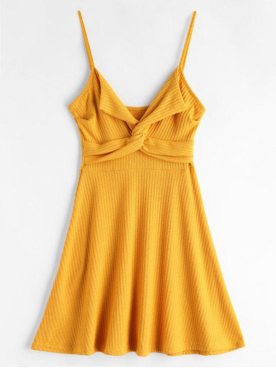 chic Twist Front Cami Knit Skater Dress - YELLOW XL