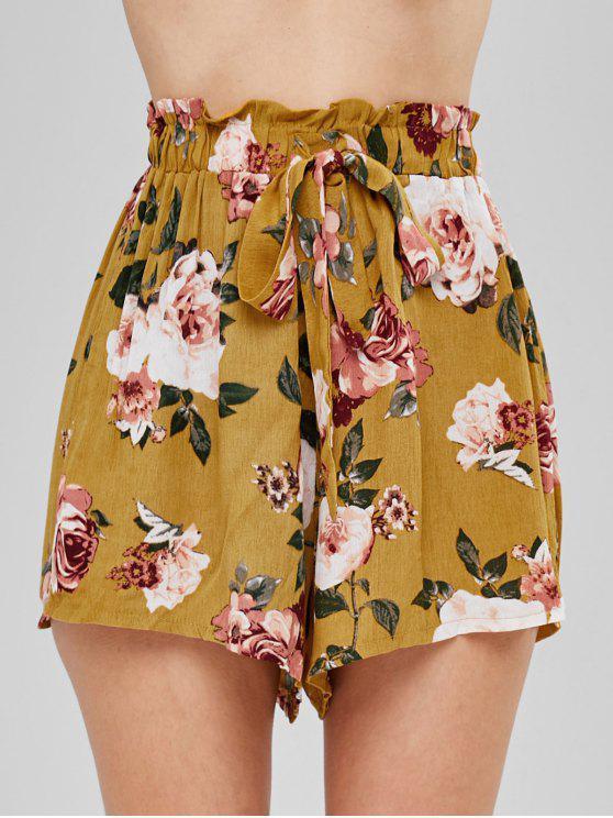 Shorts casuales de talle alto con estampado floral - Mostaza S