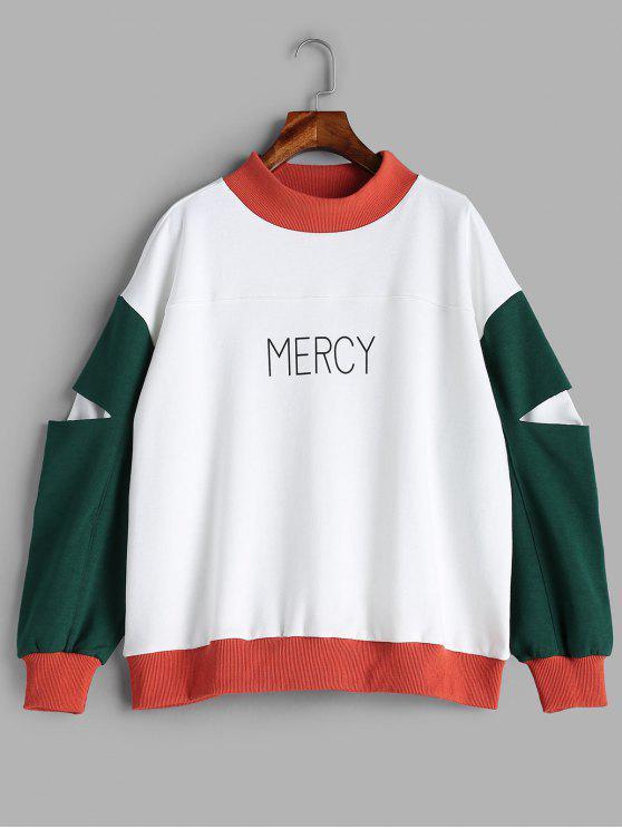 Mercy Graphic Farbblock Sweatshirt - Weiß S