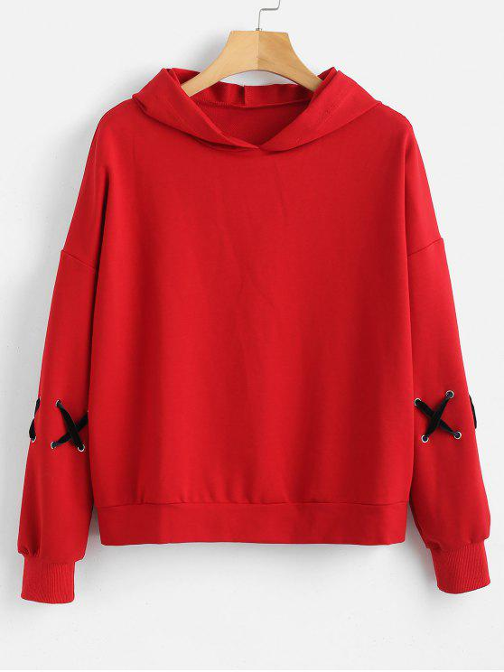 shops Drop Shoulder Criss Cross Hoodie - LOVE RED ONE SIZE