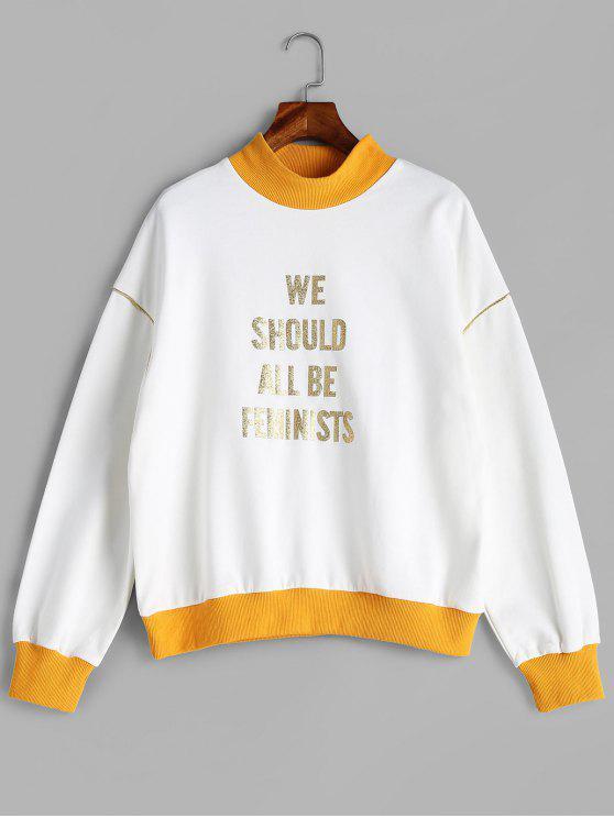 trendy Shiny Graphic Mock Neck Sweatshirt - WHITE M