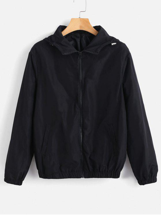 Chaqueta con capucha y cremallera - Negro S