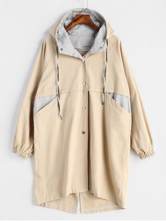 Abrigo largo con capucha - Caqui Claro Talla única