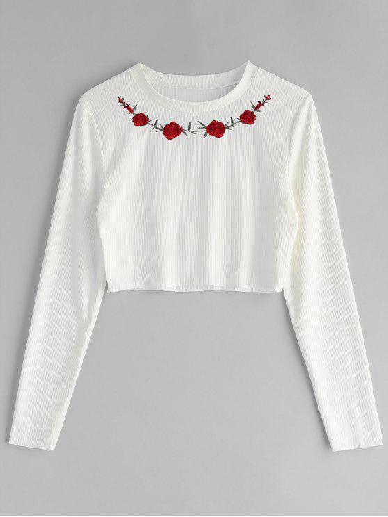 b113150599 Floral Embroidered Ribbed Tee