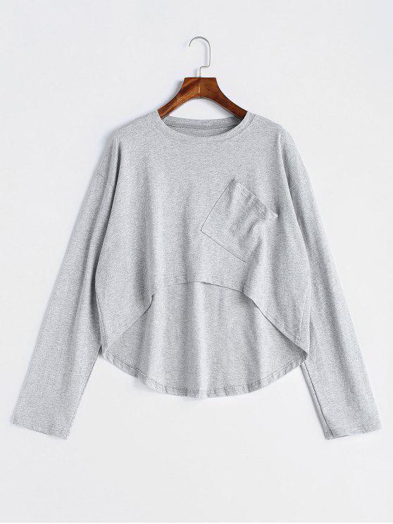 Drop Shouler Langarm asymmetrisches T-Shirt - Hellgrau Eine Größe