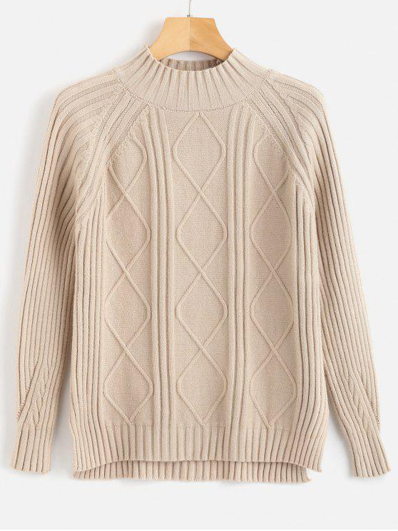 sale Ribbed High Neck High Low Sweater - BLANCHED ALMOND ONE SIZE