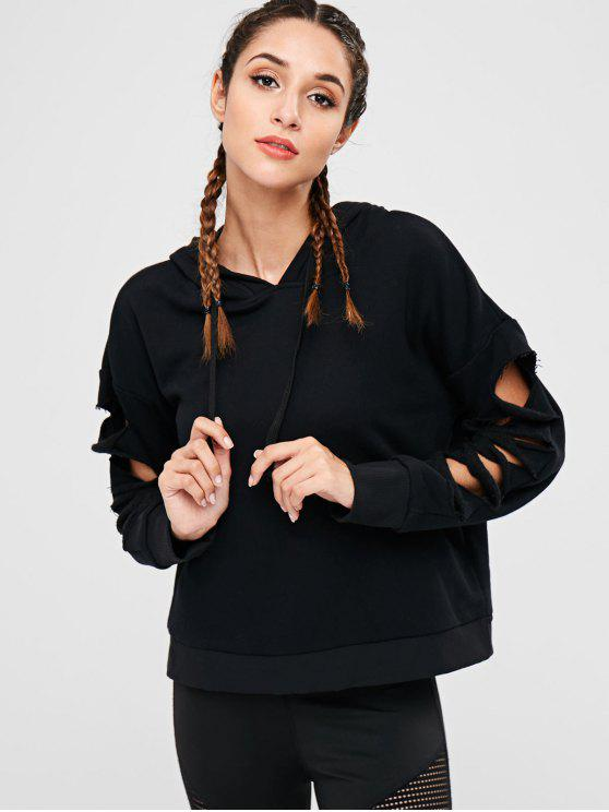 best Cutout Drop Shoulder Hoodie - BLACK L