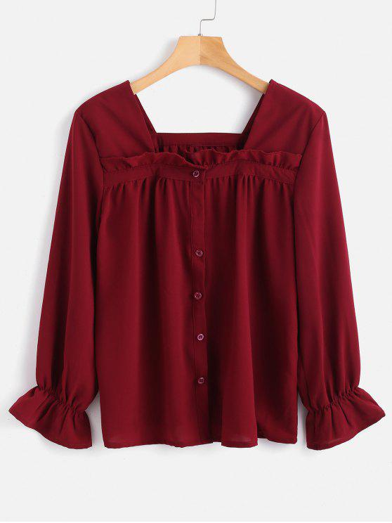 online Square Button Up Blouse - RED WINE S