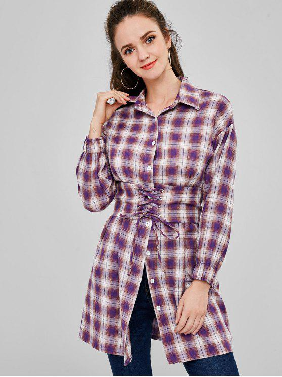 Camisa de manga larga con cinturón a cuadros - Multicolor M
